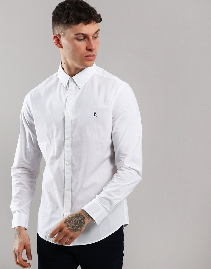 Penguin Long Sleeve Poplin Shirt Bright White