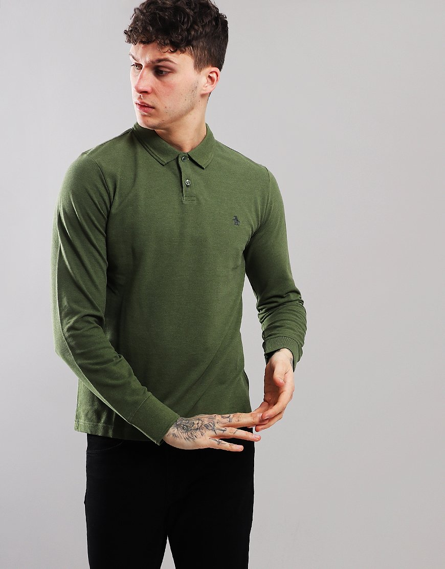 Penguin Raised Rib Long Sleeved Polo Shirt Bronze Green