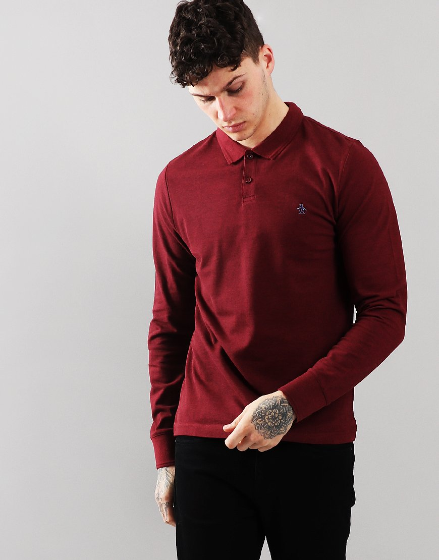 Penguin Raised Rib Long Sleeved Polo Shirt Biking Red