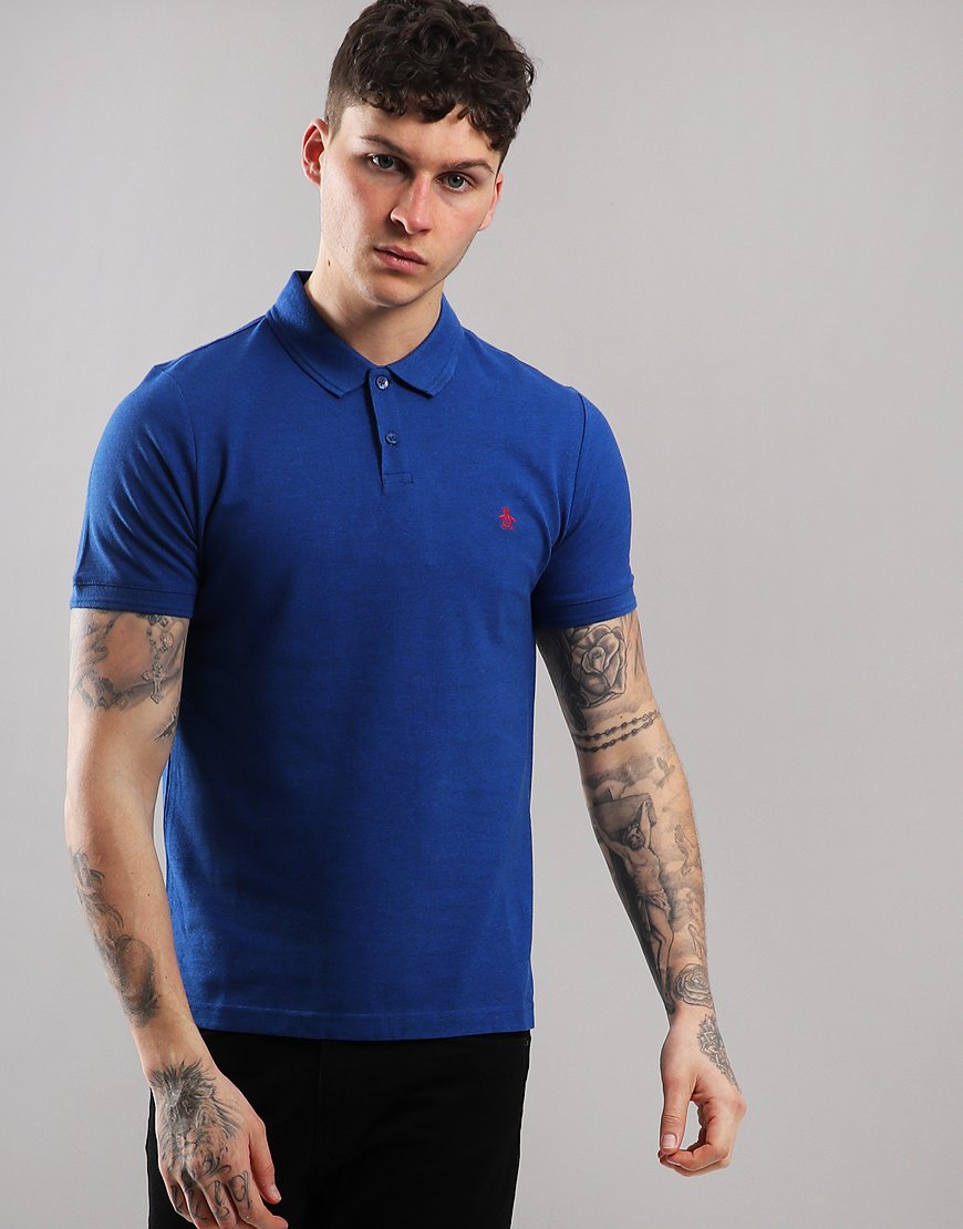 Penguin Raised Rib Polo Shirt Classic Blue Heather