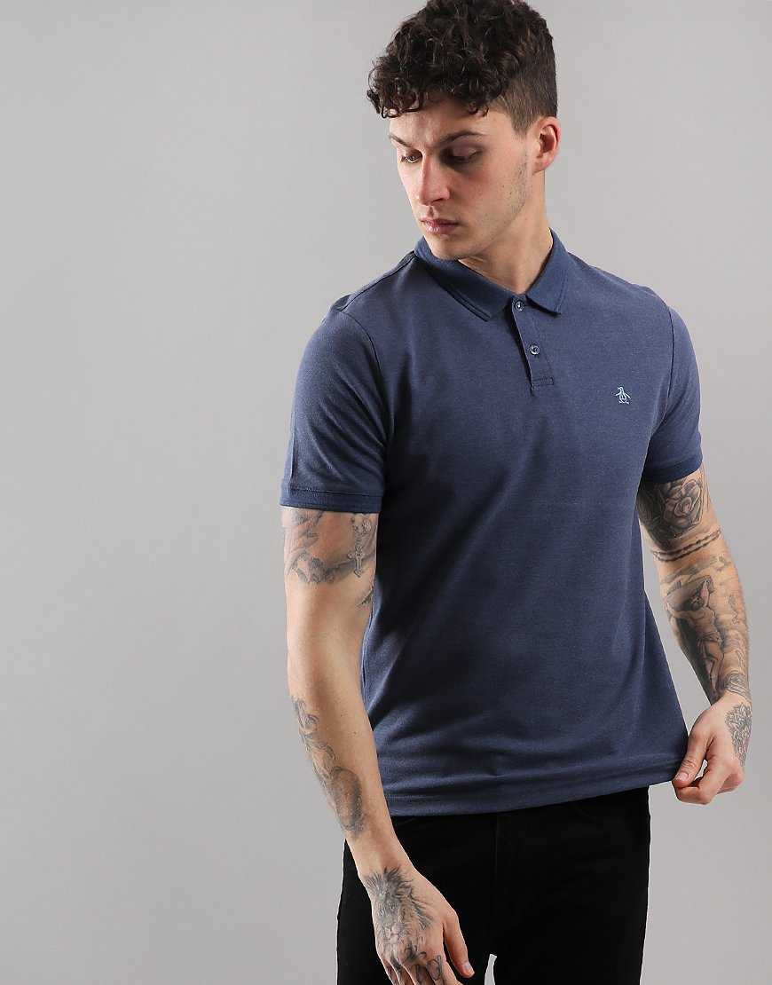 Penguin Raised Rib Polo Shirt Vintage Indigo Heather