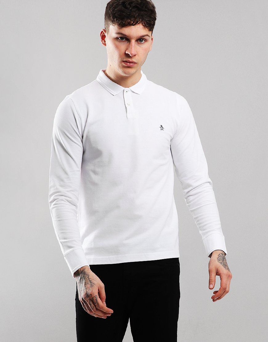 Penguin Raised Rib Long Sleeved Polo Shirt Bright White