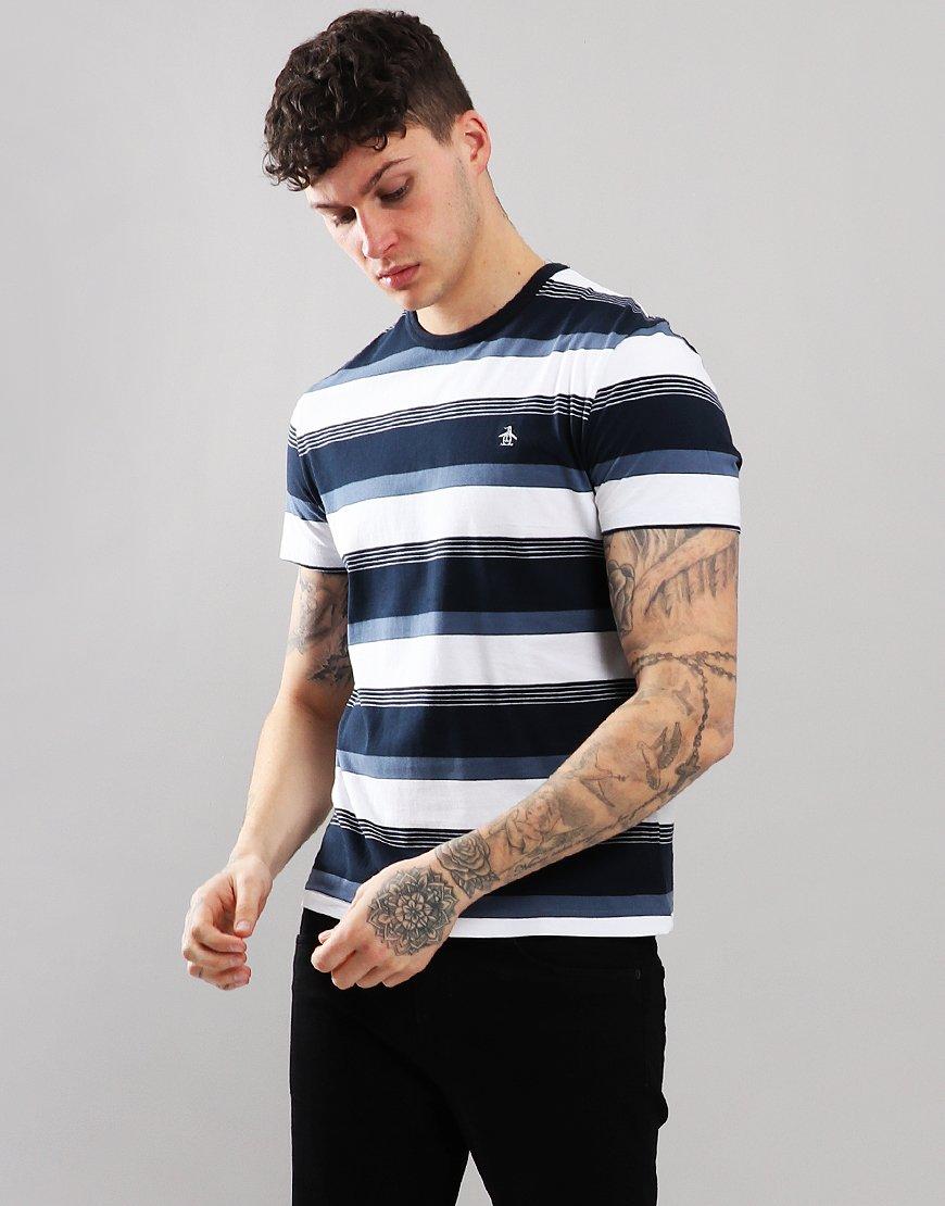 Penguin Road Map Stripe T-Shirt Dark Sapphire