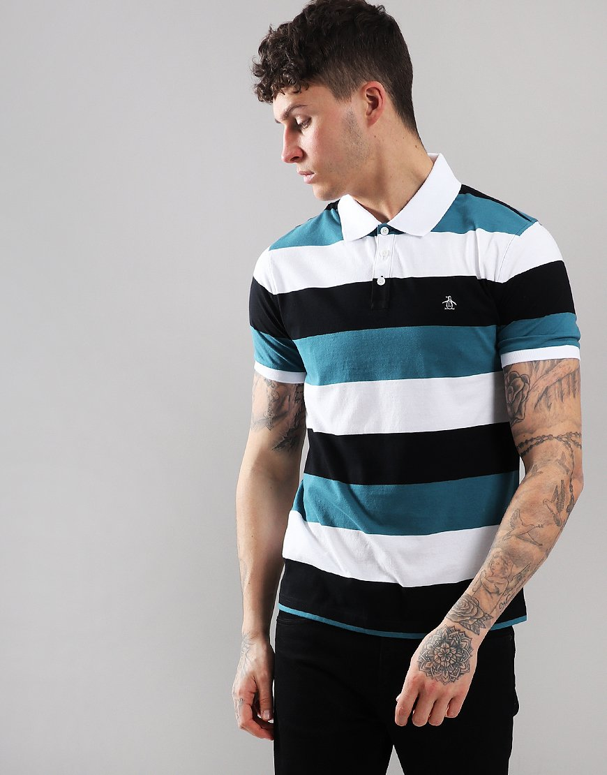 Penguin Rugger Stripe Polo Shirt True Black
