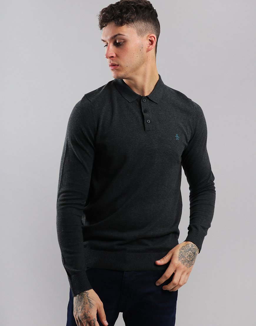 Penguin Supima Long Sleeve Knitted Polo Shirt Dark Charcoal Heather
