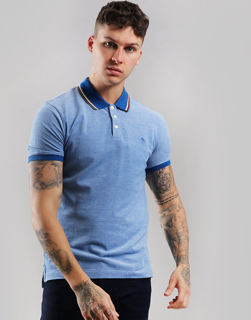 Penguin Tipped Birdseye Polo Shirt Classic Blue