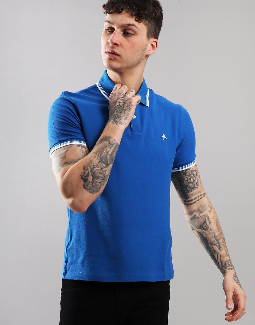Penguin Tipped Piqué Polo Shirt Classic Blue