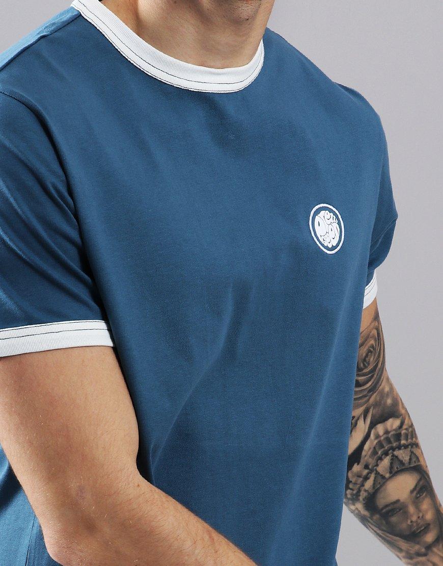 2adc1d56daa Pretty Green Badge T-Shirt Mid Blue - Terraces Menswear