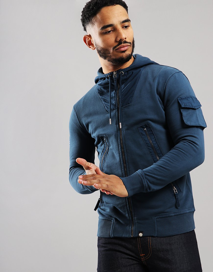 Pretty Green Cambeck Zip Sweat Jacket Dark Blue