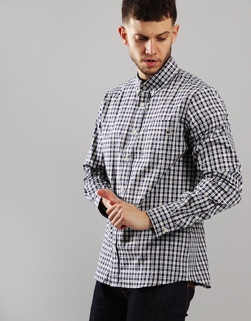 Pretty Green Long Sleeve Check Shirt White