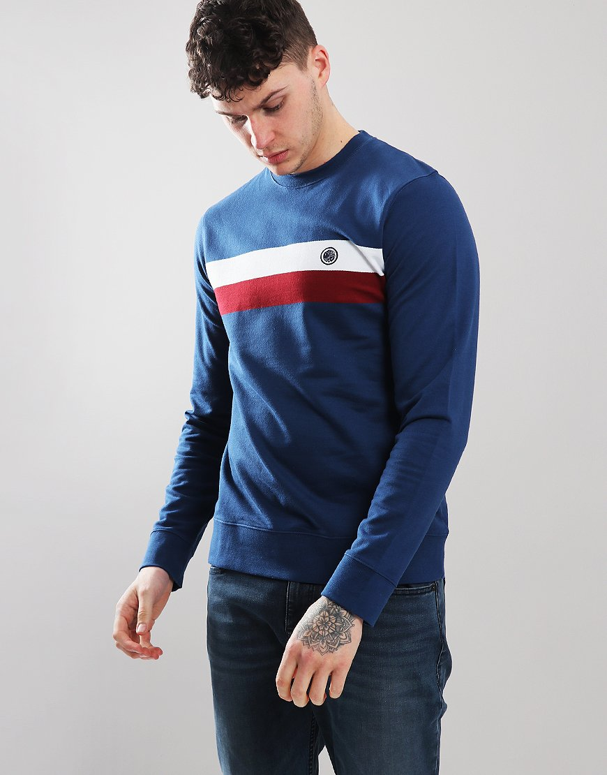Pretty Green Engineered Chest Stripe Crew Sweat Blue