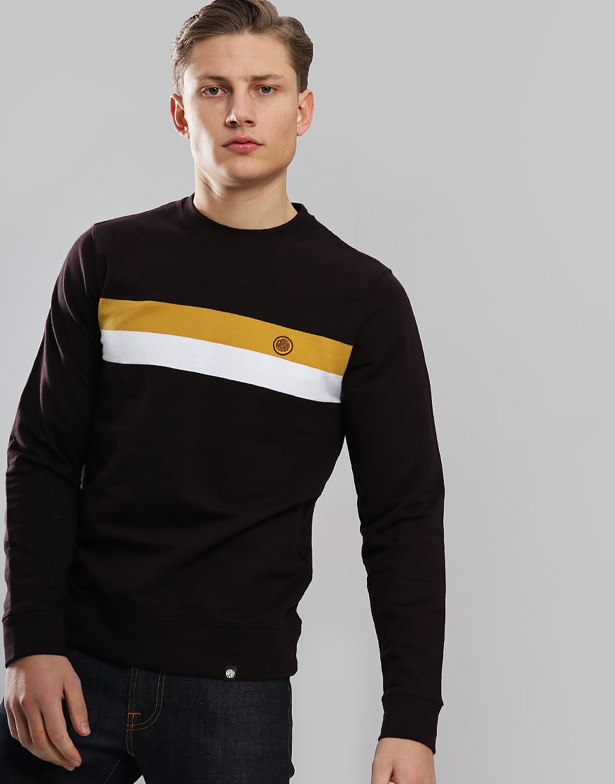 Pretty Green Engineered Chest Stripe Crew Sweat Brown