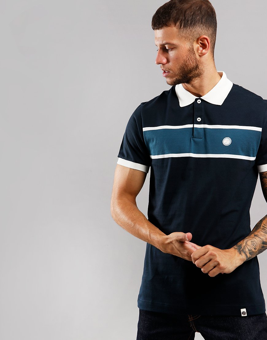 Pretty Green Colour Block Polo Shirt Navy