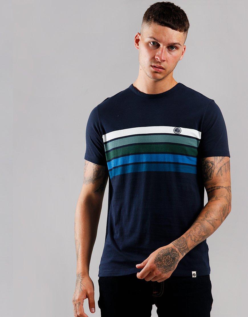 Pretty Green Colour Block Chest T-Shirt Navy
