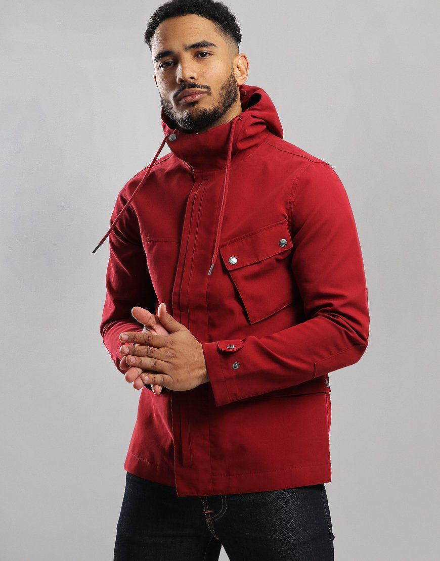 Pretty Green Contrast Colour Hooded Jacket Red