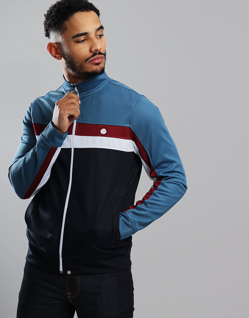 87c99300 Pretty Green Contrast Panel Track Top Blue Combo