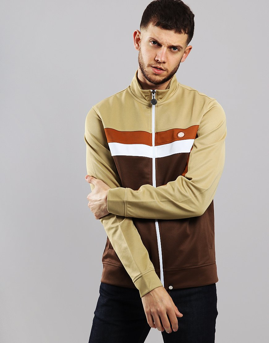 Pretty Green Contrast Panel Track Top Brown Combo