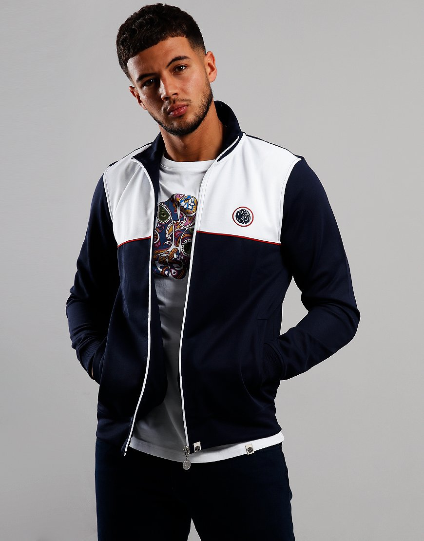 Pretty Green Contrast Panel Track Top Navy/White