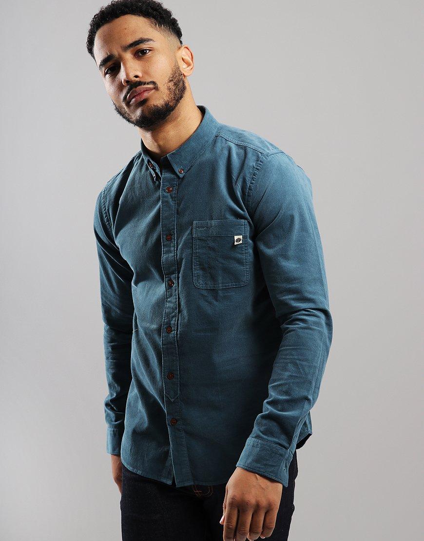 Pretty Green Long Sleeve Cord Shirt Blue