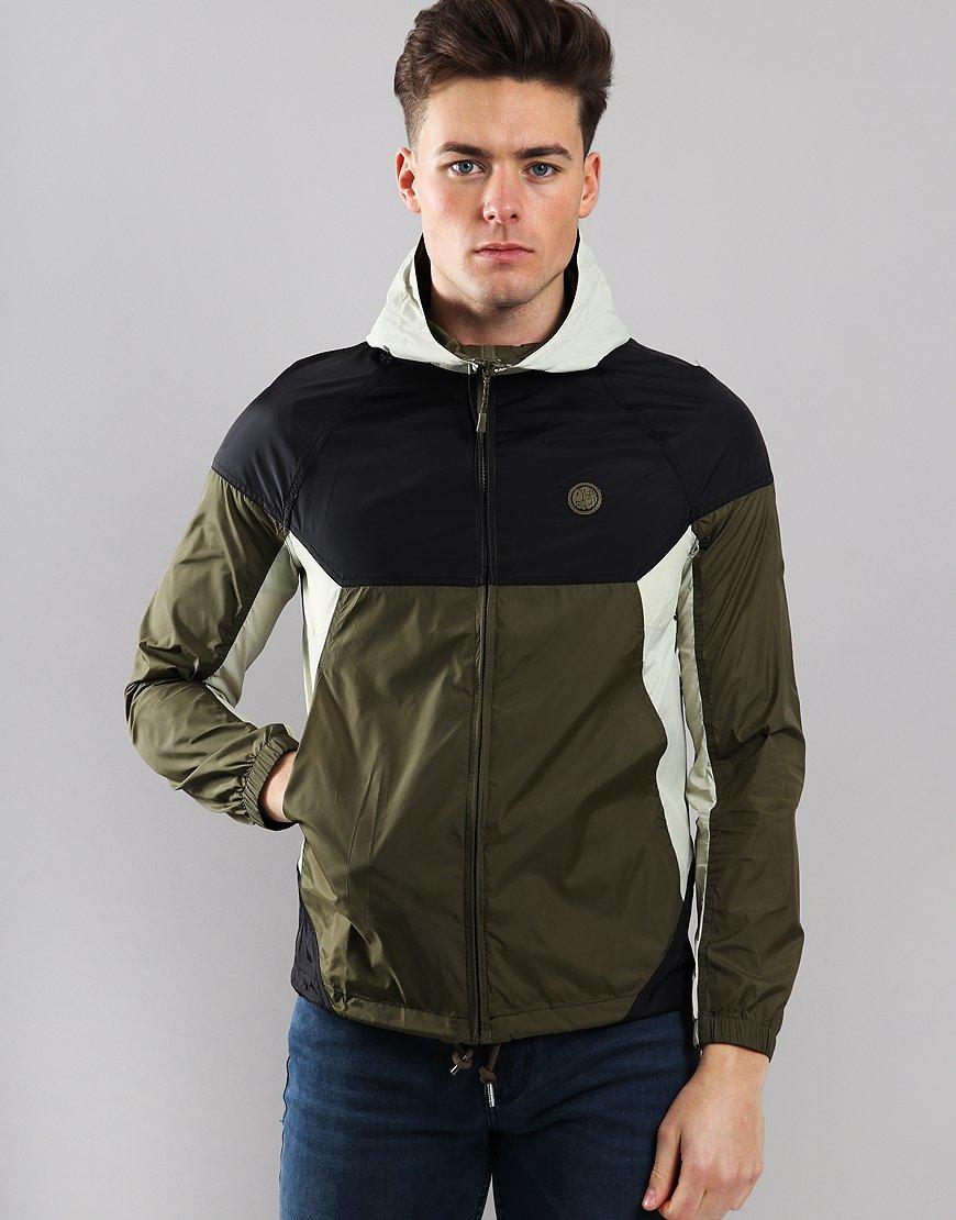 Pretty Green Hooded Contrast Jacket Khaki/Black