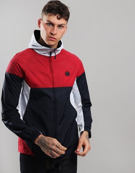 Pretty Green Hooded Contrast Jacket Red/Navy