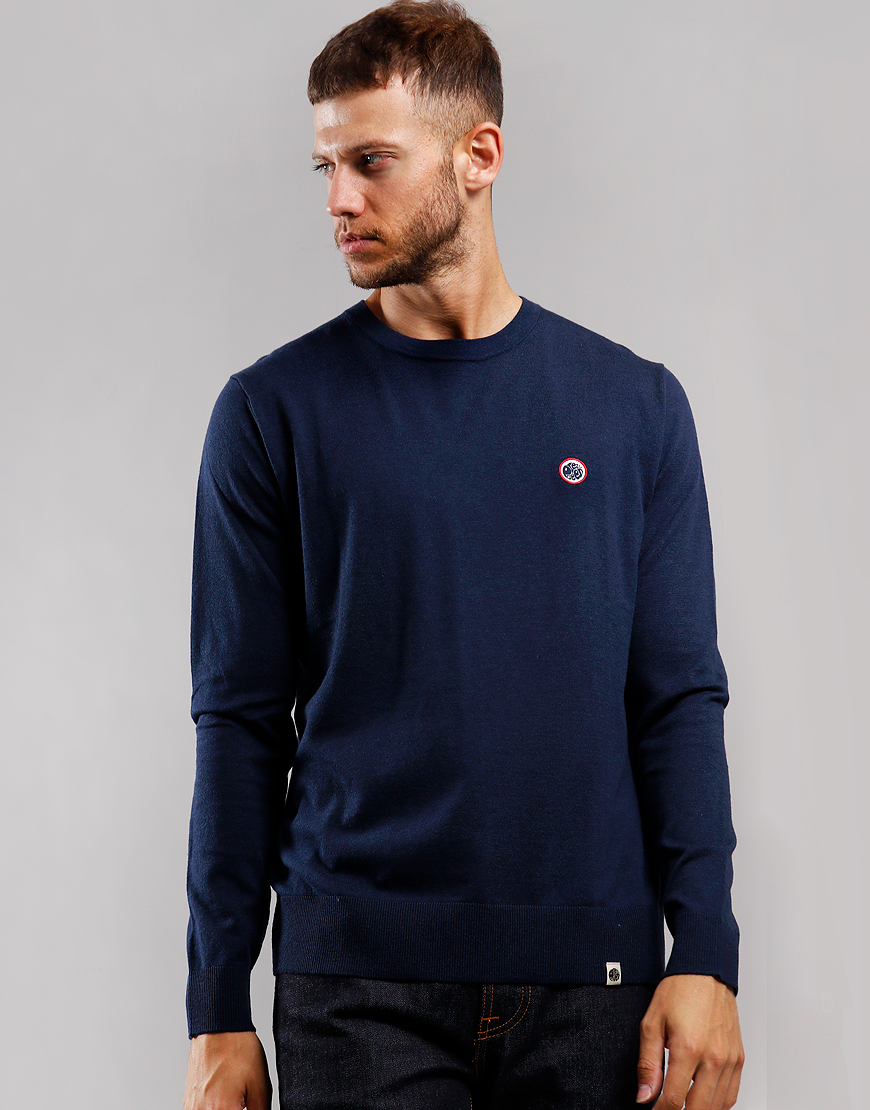 Pretty Green Knitted Crew Knit Navy