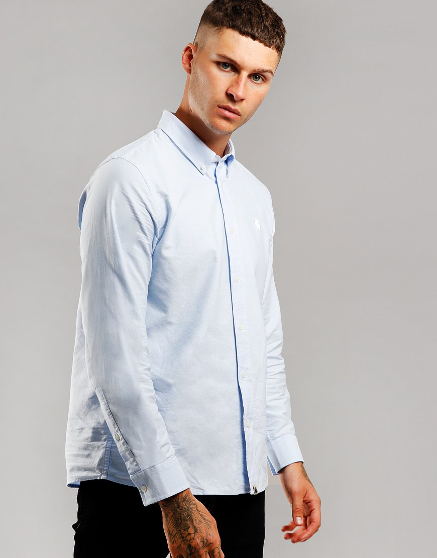 Pretty Green Long Sleeve Oxford Shirt Blue