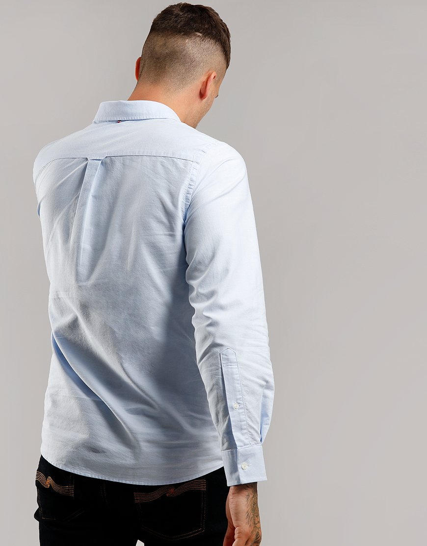 Pretty Green Long Sleeve Oxford Shirt Blue