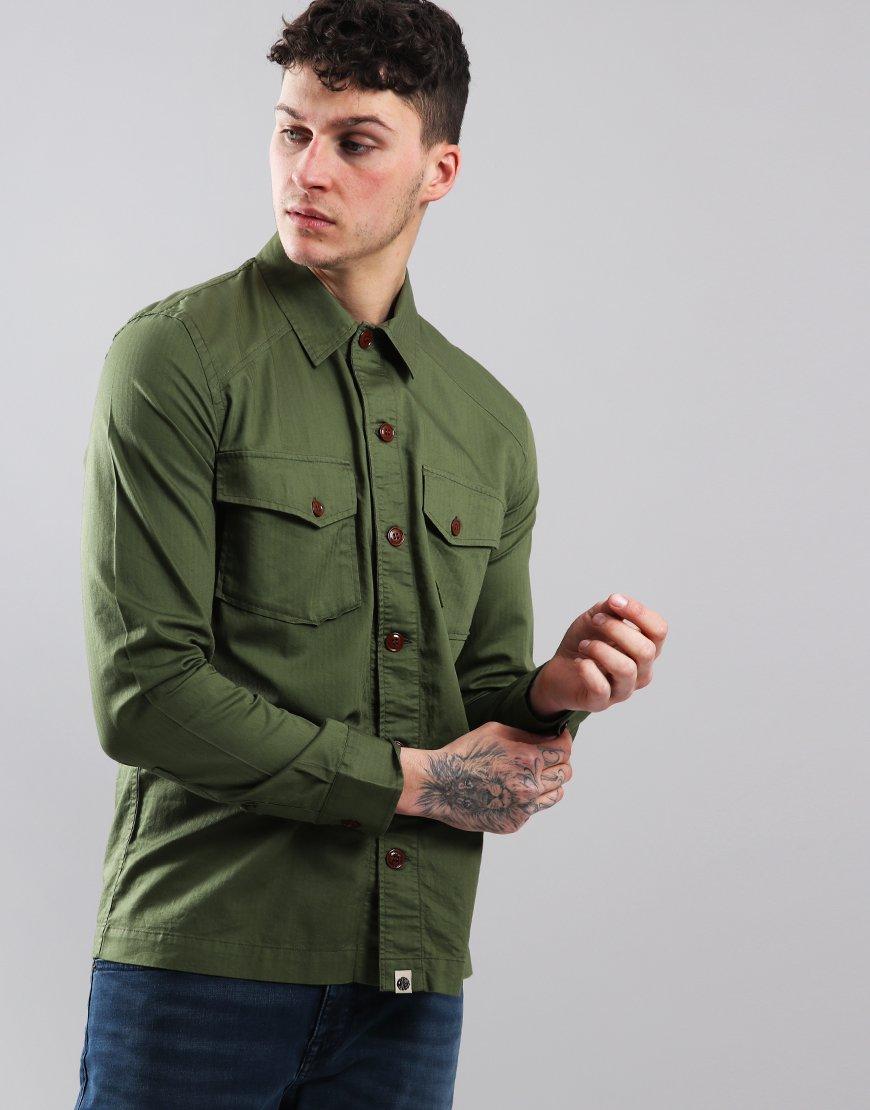 Pretty Green Military Overshirt Green