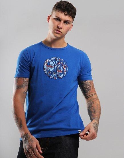 Pretty Green Paisley Appliqué Logo T-Shirt Blue