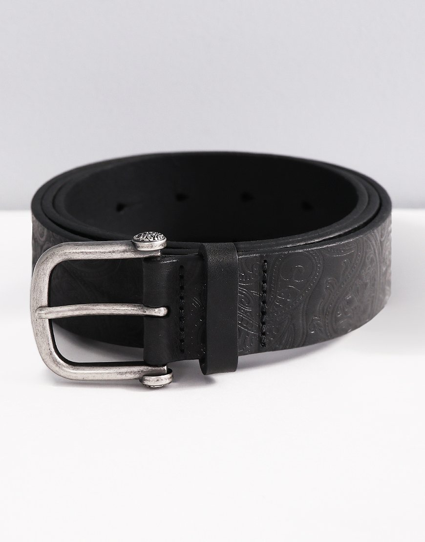 Pretty Green Paisley Embossed Leather Belt Black