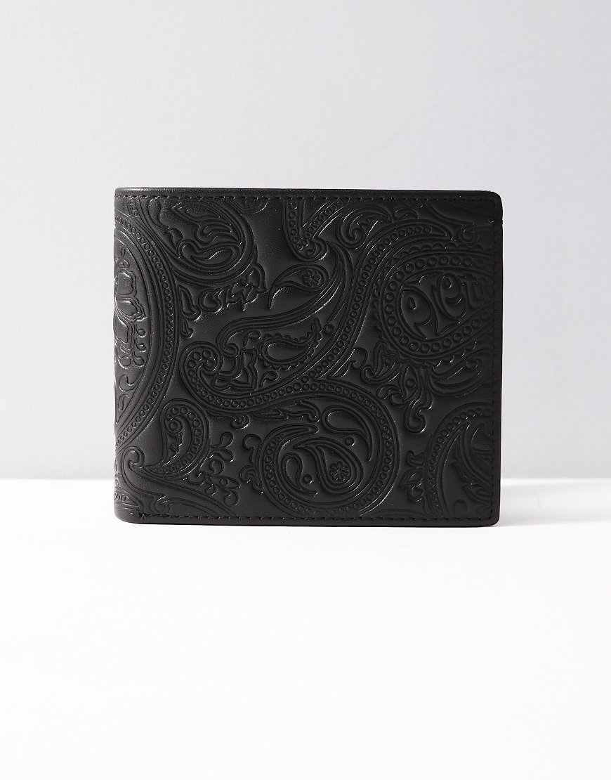 Pretty Green Paisley Embossed Leather Billfold Wallet Black