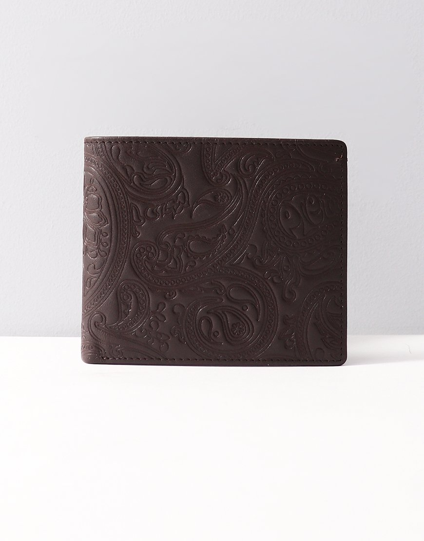 Pretty Green Paisley Embossed Leather Billfold Wallet Chocolate