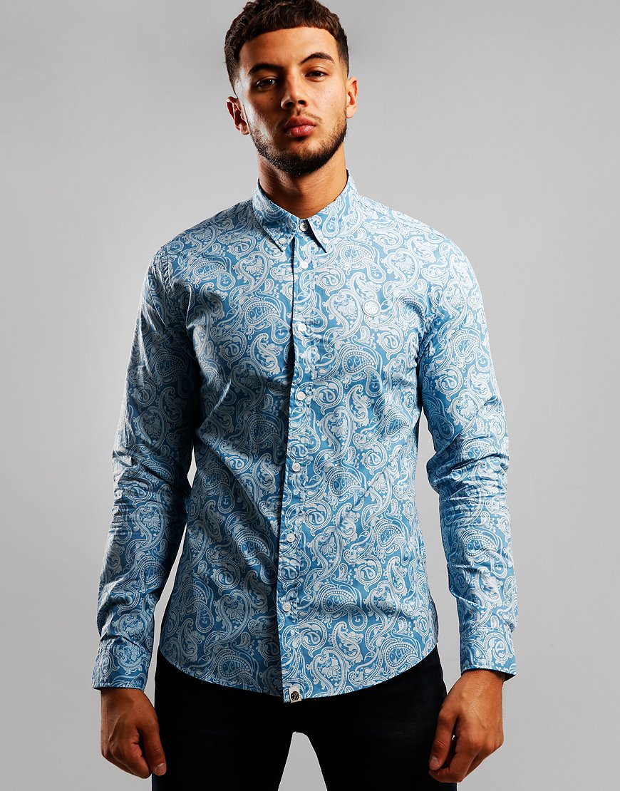 Pretty Green Long Sleeve Paisley Shirt Blue