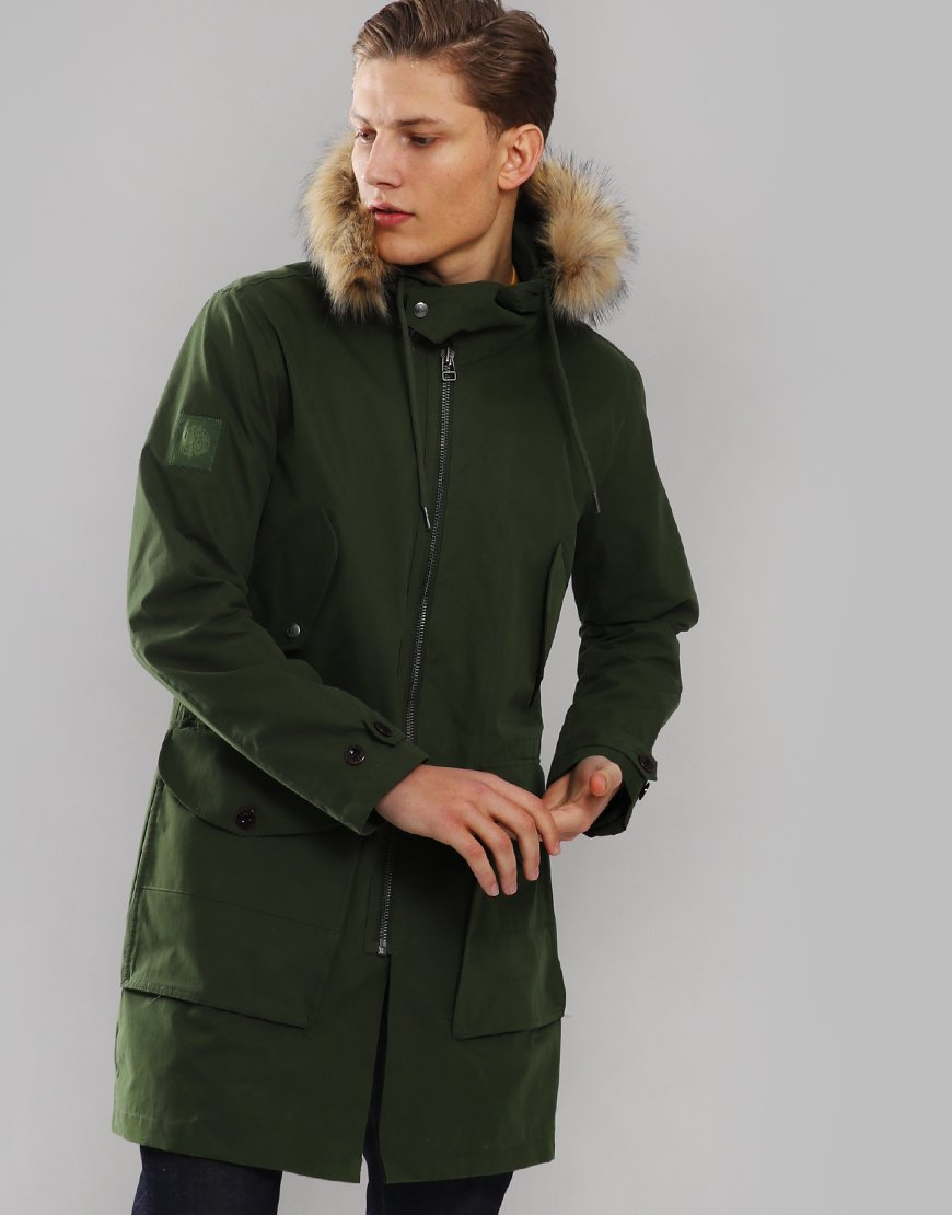 Pretty Green Faux Fur Trim Parka Olive