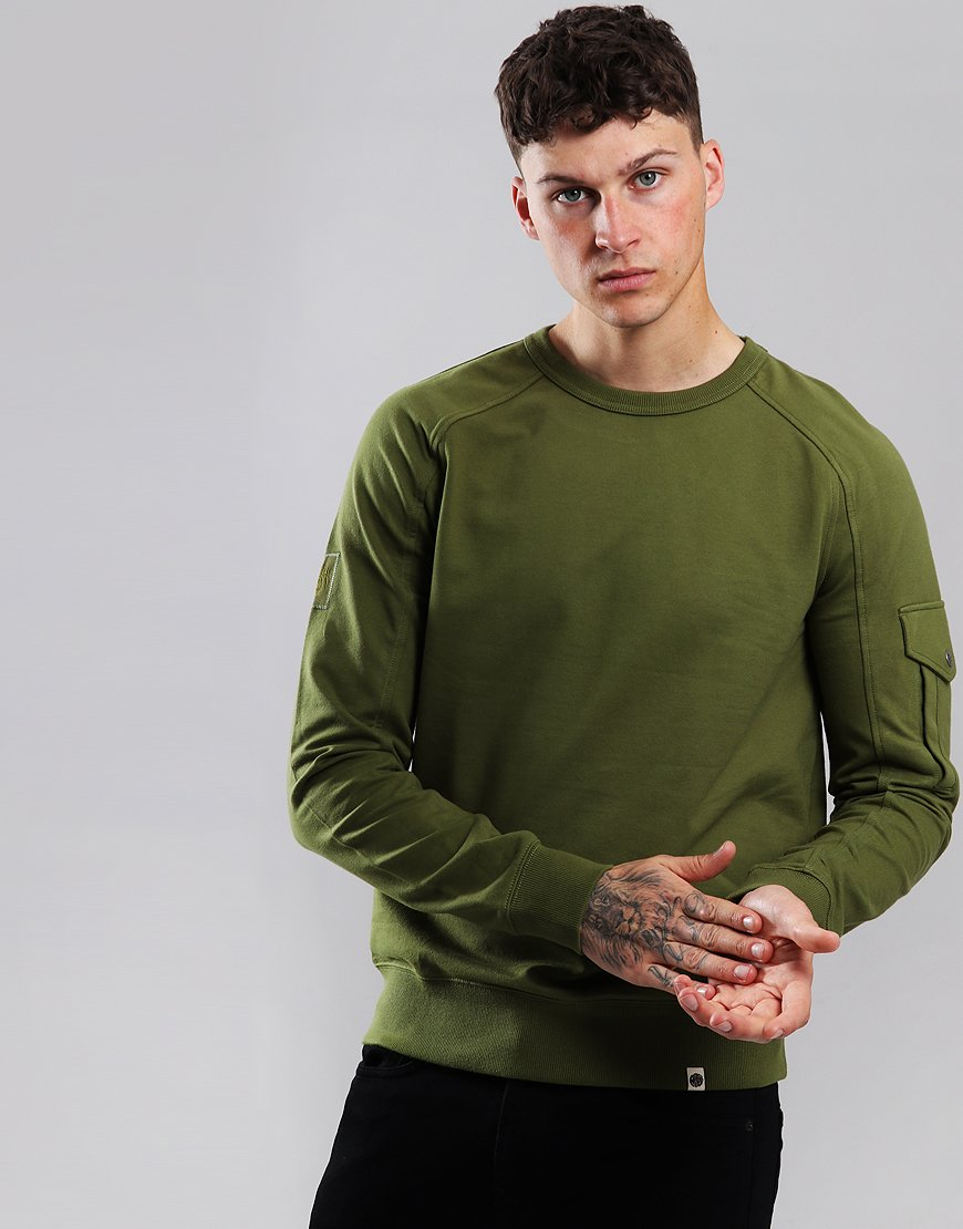 Pretty Green Pocket Sleeve Detail Sweat Khaki