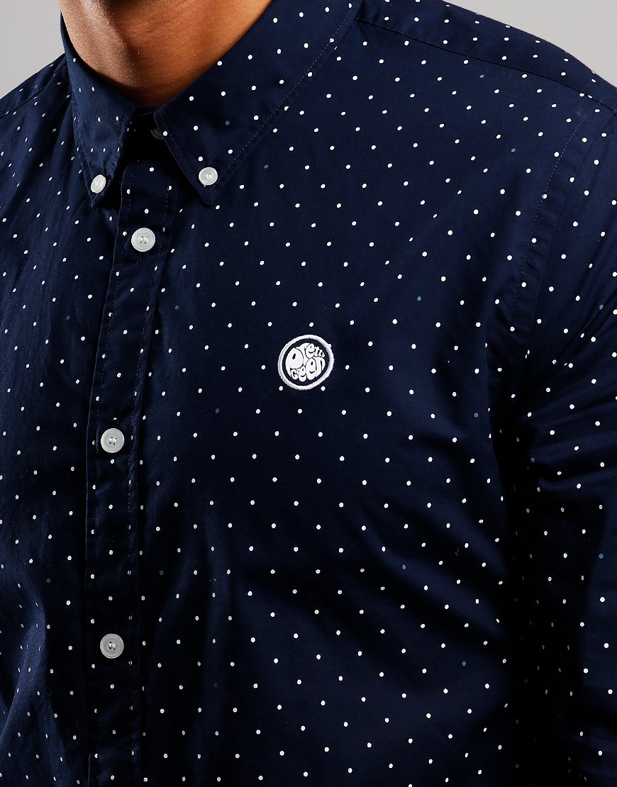 Pretty Green Long Sleeve Polka Dot Shirt Navy