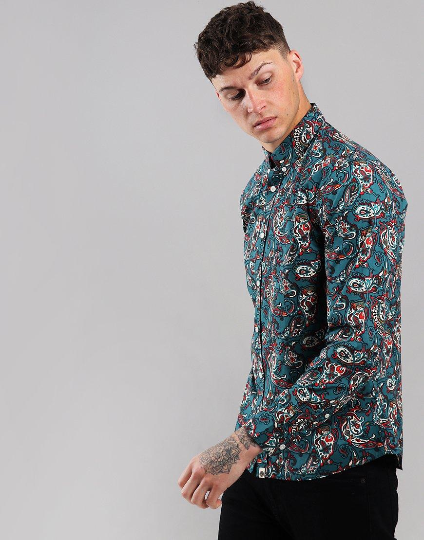 Pretty Green Slim Fit Paisley Print Shirt Teal