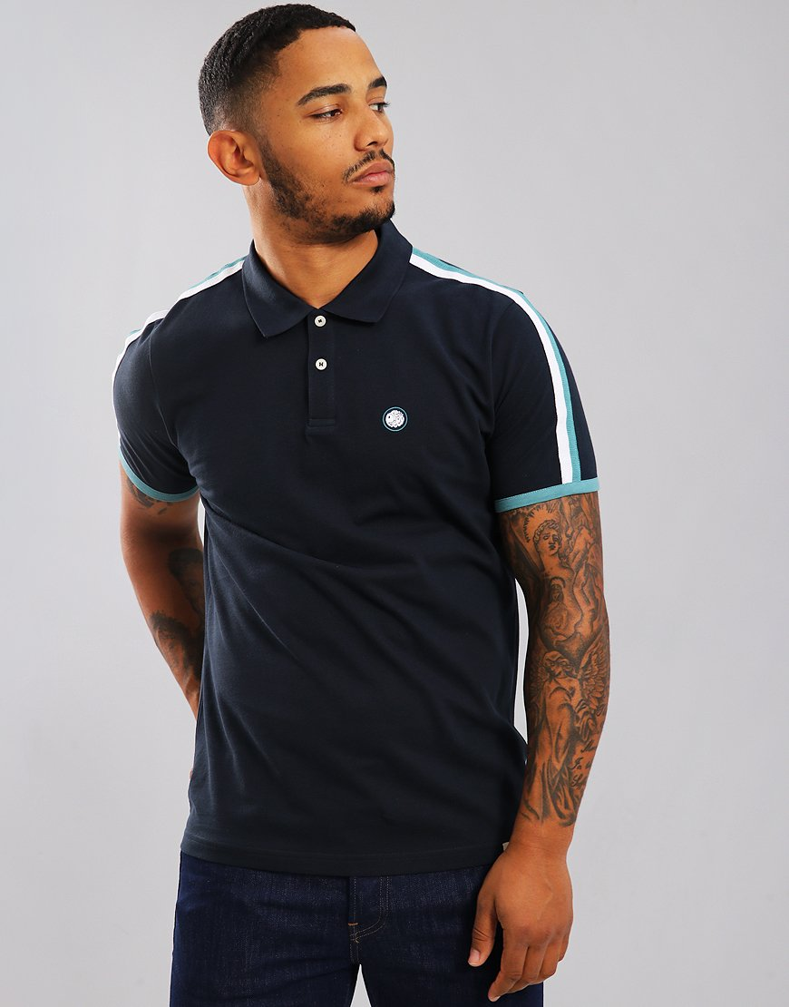 Pretty Green Tilby Moon Polo Shirt Dark Navy
