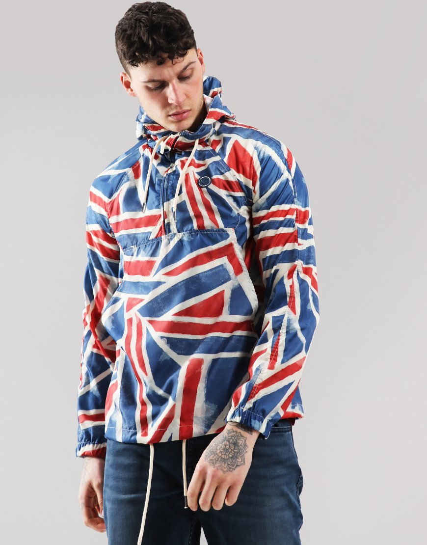 Pretty Green Union Jack All Over Print Overhead Jacket Red