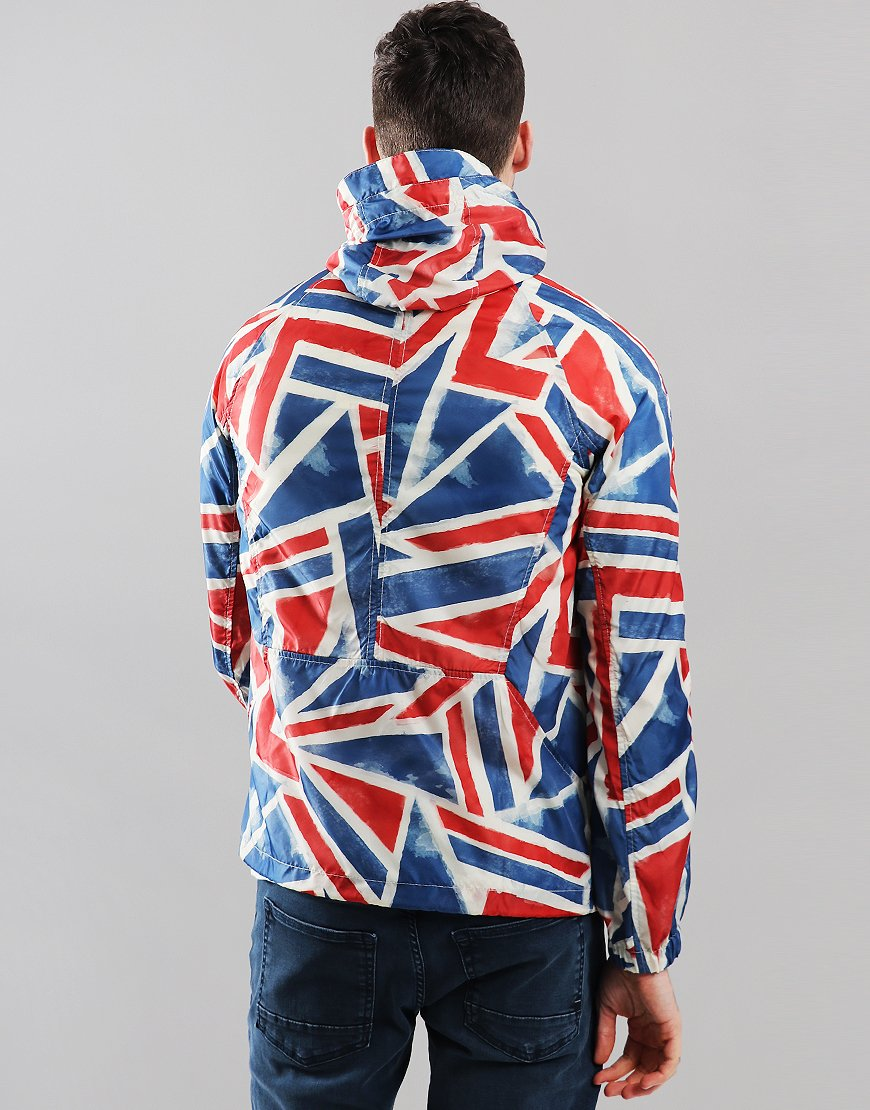 d254d7a78 Pretty Green Union Jack All Over Print Overhead Jacket Red ...