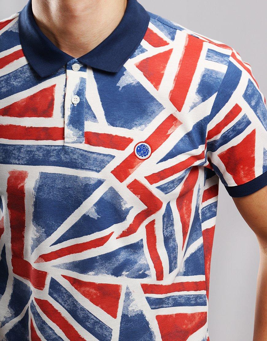74bc99bfd Pretty Green Union Jack Printed Polo Shirt Blue - Terraces Menswear