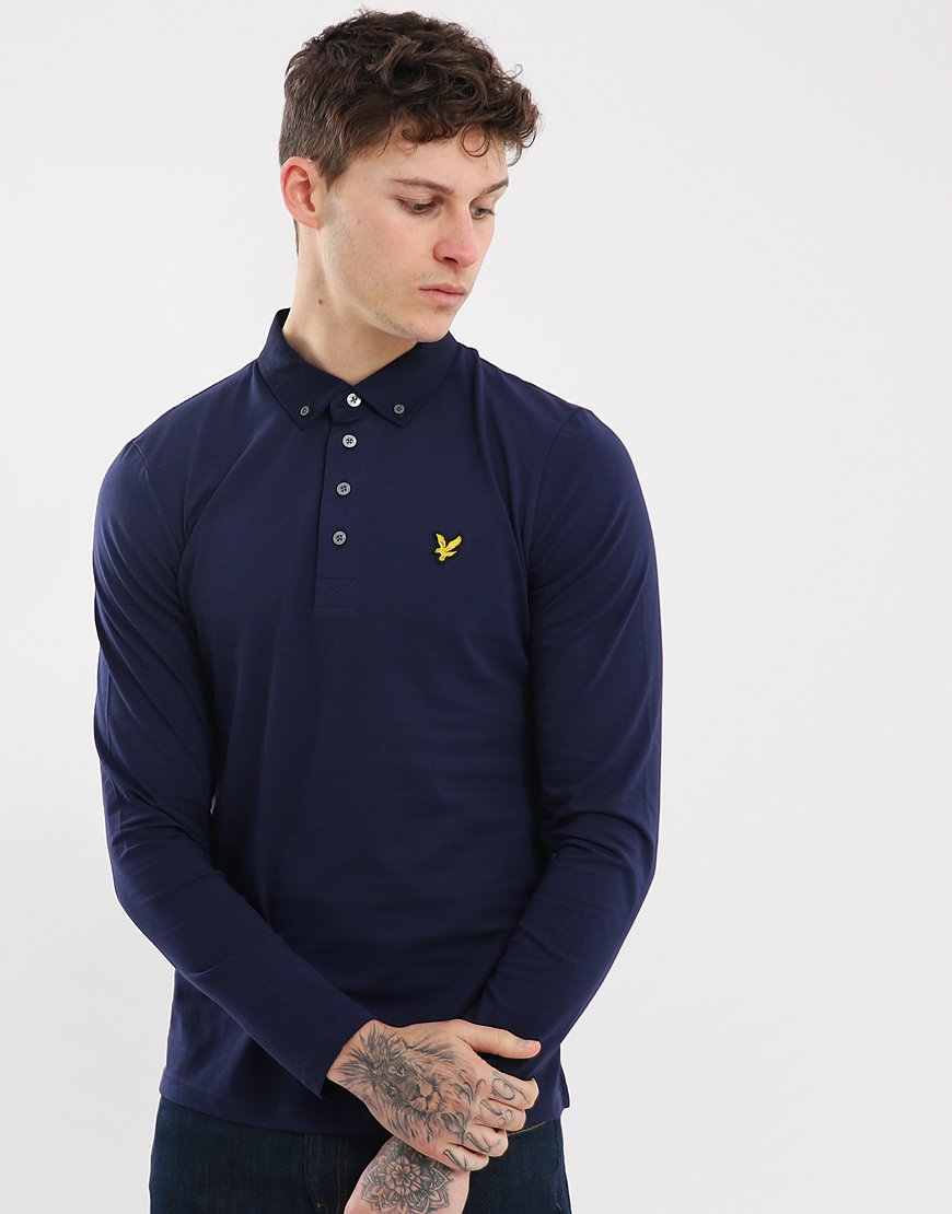 Lyle & Scott Long Sleeve Woven Collar Polo Shirt Navy