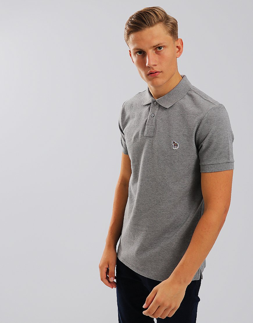 Paul Smith Zebra Logo Polo Shirt Grey Melange