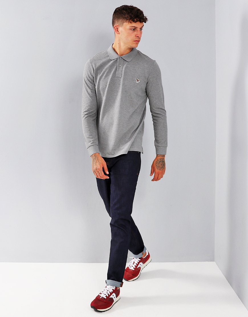 Paul Smith Long Sleeve Polo Shirt Dark Grey Melage