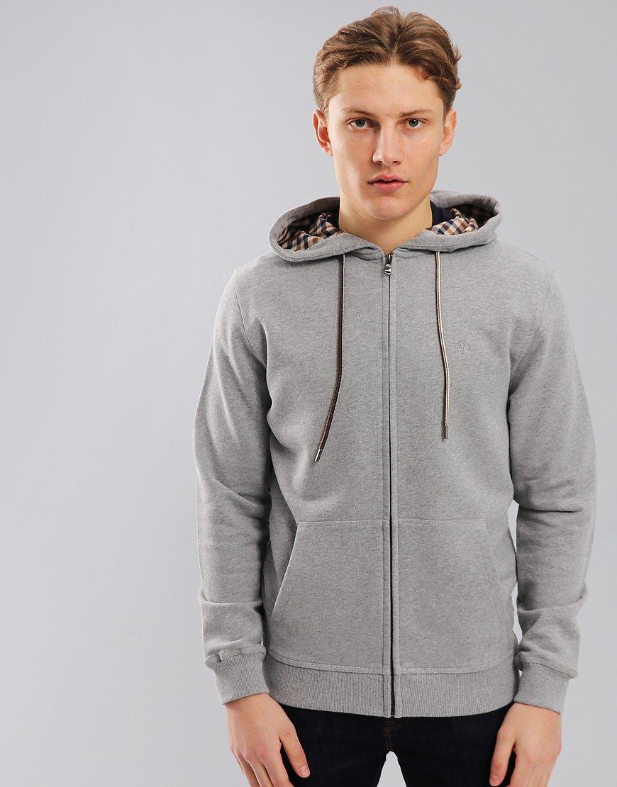 Aquascutum Arlo Zip Hoodie With Club Check Hood in Grey Melange