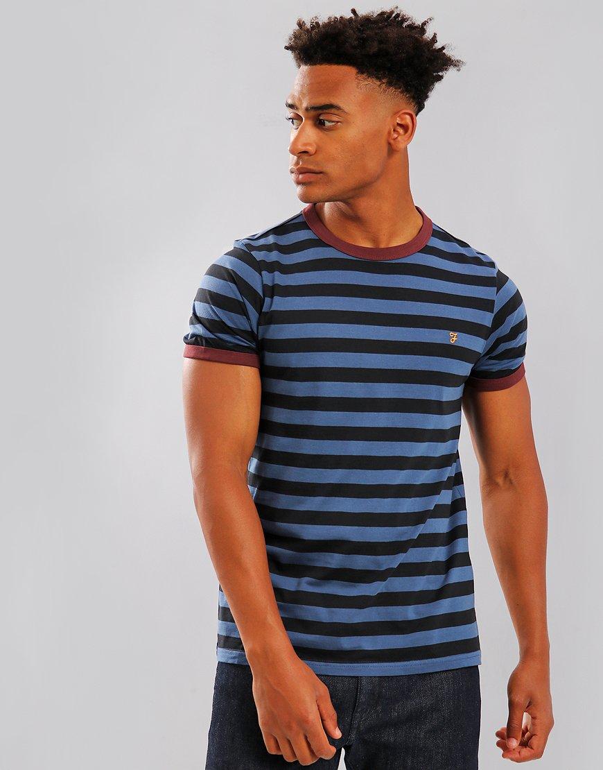 Farah Belgrove Stripe T-Shirt Bobby Blue