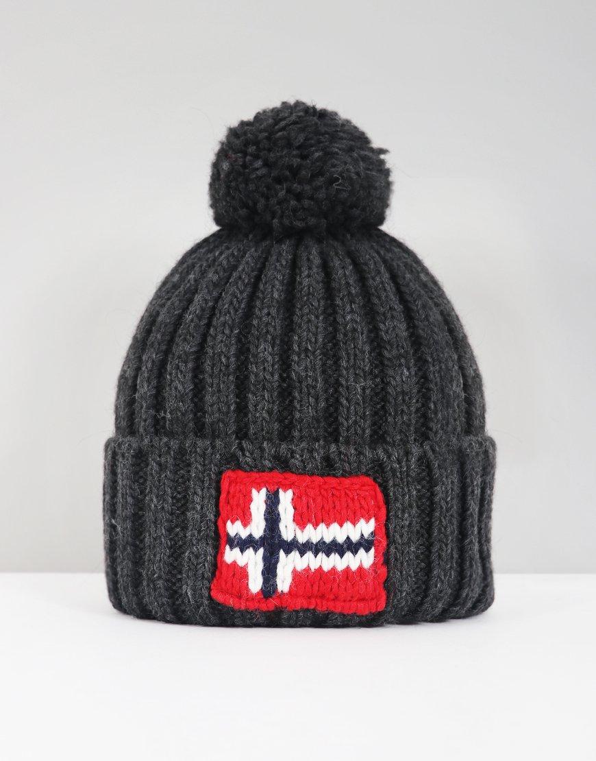 Napapijri Semiury Bobble Hat Dark Gey Melange