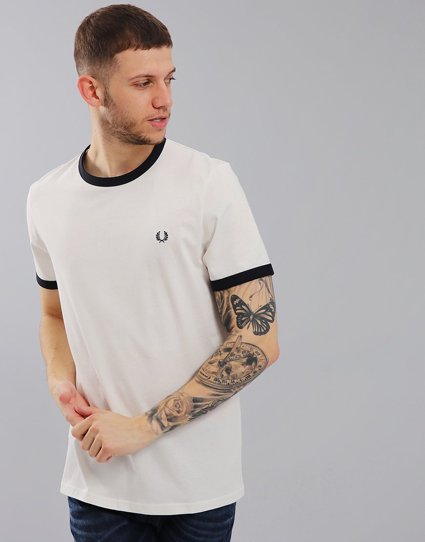 Fred Perry Ringer T-Shirt Snow White/Navy