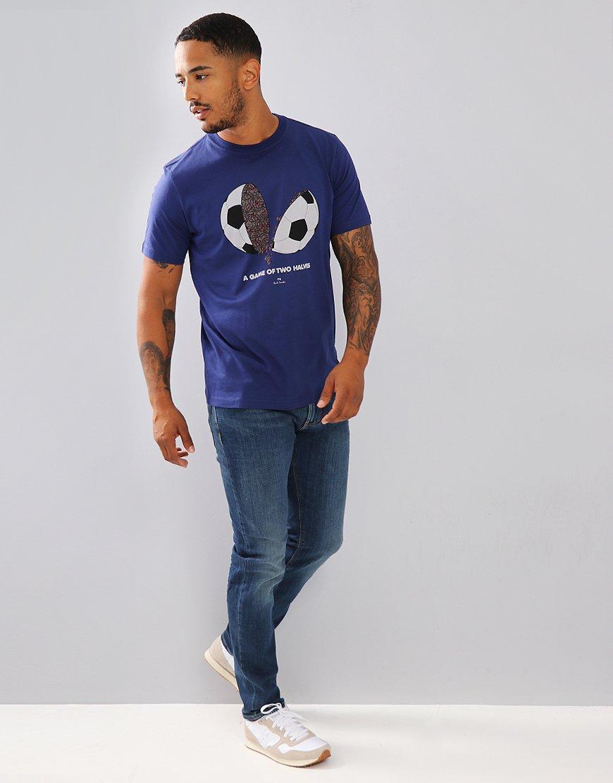 Paul Smith a Game of 2 Halves T-Shirt Cobalt Blue